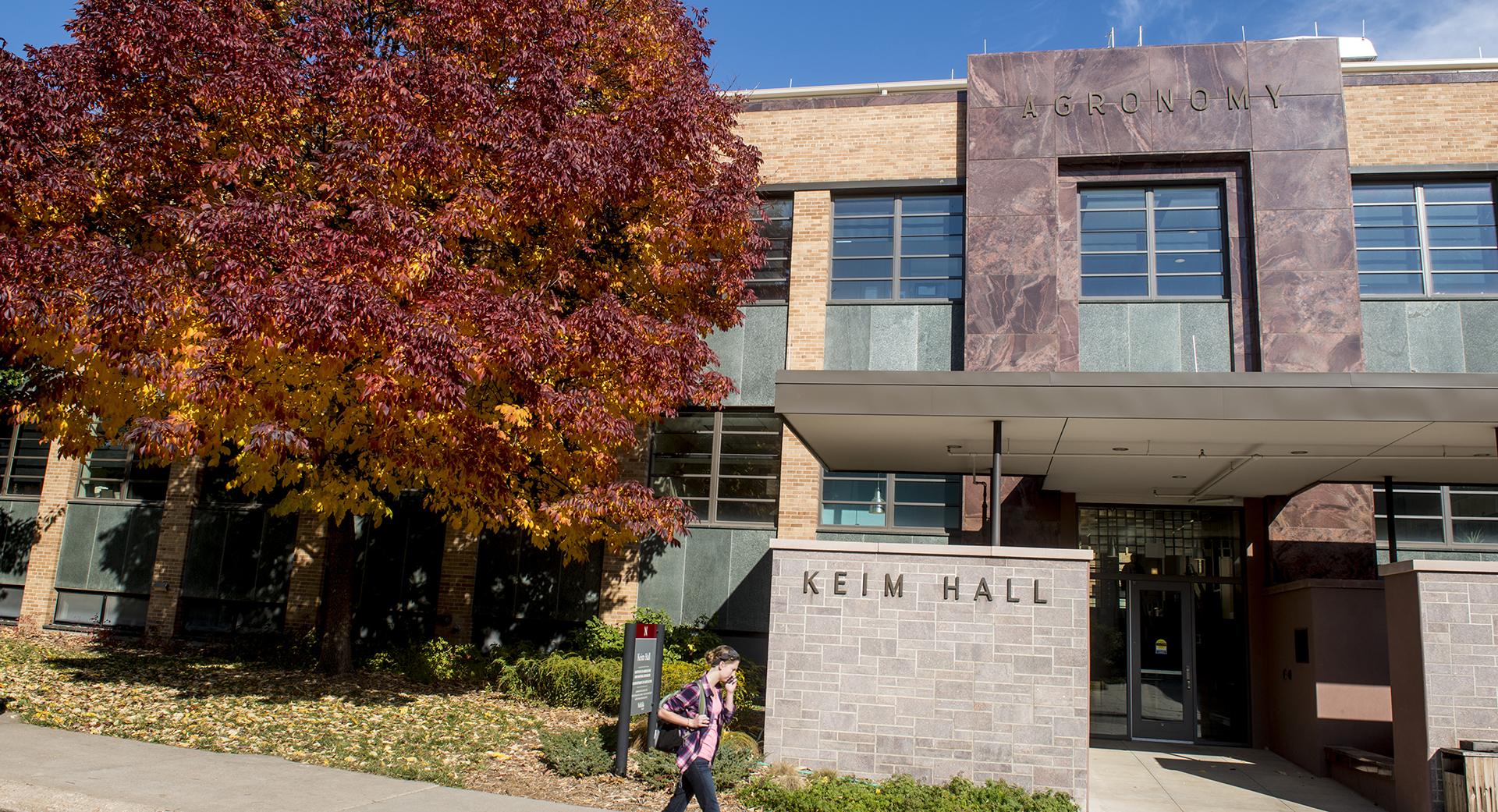 Exterior building image of Keim Hall, recently renovated and on-track for LEED certification.