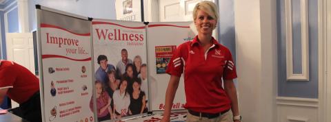 Kim Barrett at a Wellness event for University Housing staff